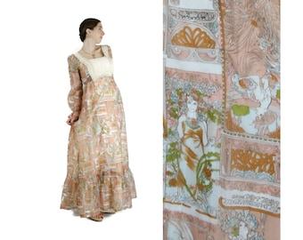 Alphonse MUCHA Inspired 1960s Novelty Print Chiffon Maxi Dress / Art Nouveau Dress M