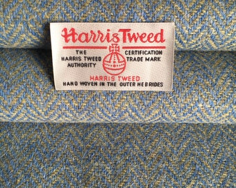 Blue and Green Herringbone, Harris Tweed, Fabric, 100% Wool, With Authenticity Label