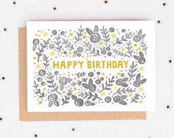 Folk Pattern Birthday Card