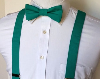 Men's Bowtie and Suspenders - Teal                   2 weeks before shipping