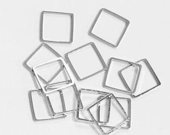50 pièces d'argent Antique plaqué maillons carrés en laiton 12mm