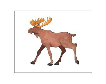 Nursery art print, printable art wall decor, baby room, woodland nursery, woodland baby room, moose wall art, custom digital, DIY