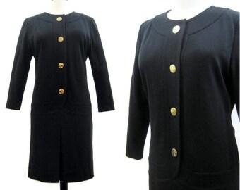 Vintage Givenchy 70s 80s Dress Nouvelle Boutique Black Wool Knit Tunic Dress L