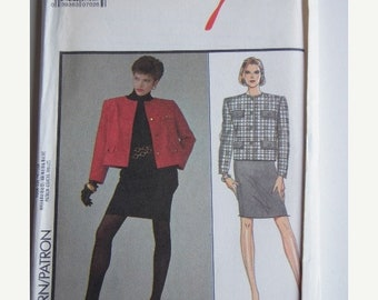 ON SALE 80's Sewing Pattern - Style 1366 Classic Jacket and skirt Size 14-20 Factory folded and complete