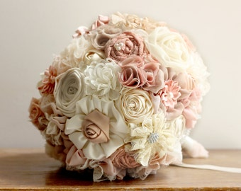Wedding Bouquet ,Fabric rustic Bridal Bouquet, pink bouquet, blush bouquet, handmade bouquet, bespoke bouquet, vintage bouquet, lace bouquet