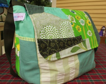 Green Patchwork Messenger style knitters bag, Pro-knitters/ crocheters tote, Project organizer with yarn dispensing features