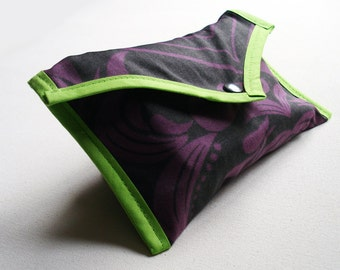 Upcycled Pouch Purple and Lime Damask  - Kezbirdie