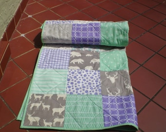 Handmade Baby Quilt, Mint, grey, purple, Baby quilt, Baby Girl Crib Bedding, Rustic,Woodland,Deer,Bear, Arrow, Toddler, Woodsy Mint n Lilac