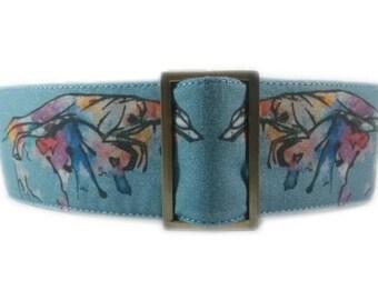 Martingale Collar, Watercolour greyhound print, Whippet collar, Greyhound Martingale collar, Sighthound Collar, A Skyefrog Original
