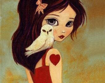 Children's Art - Owlways Print 5x7 / 6x8 - Owl Art, Owl Decor, Portrait, Girl, Girls Room Art, Art for Kids, Girls Decor, Cute, Whimsical