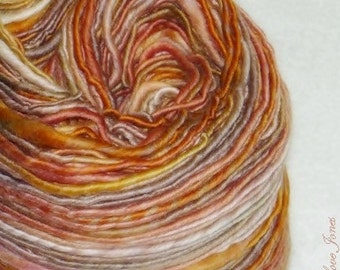 Bunny Hop - 190 yds - Thick and Thin - Single Ply - Handspun - Art Yarn - Knitting - Crochet - Weaving - Mixed Media - Fiber Arts - Textiles