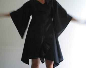 Kimono Wrap Dress/ Kimono Sleeve Dress in Linen  by NervousWardrobe on Etsy