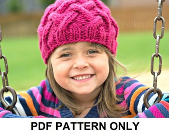 Knitting Pattern - Chunky Cabled Hat Pattern - the ROSE beanie (Toddler, Child & Adult sizes incl'd)