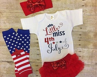 Little Miss 4th of July Outfit, Girl July Fourth, Newborn Outfit, My first Parade, Independence Day Outfit, Patriotic, Red white and blue