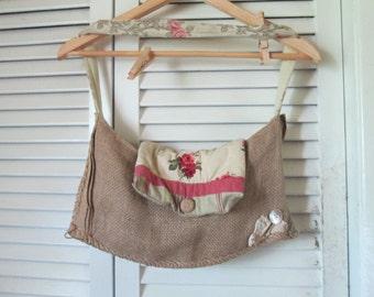 Eco Burlap Hobo Sack Hippie Patchwork Shoulder Bag