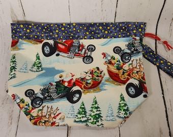 Santa's Hot Rod Christmas Large Drawstring Knitting Project Bag, Large Drawstring Bag, Knitting Drawstring Bag, Fabric Drawstring Bag DSL002