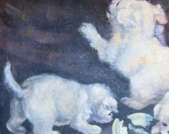 Antique Painting  Dogs Oil Canvas Folk Art