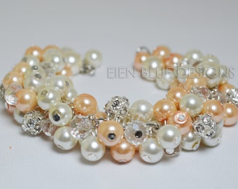 Peach and Ivory Pearl Bracelet, Ivory Pearl Cluster Bracelet, Ivory & Peach Pearl Jewelry, Chunky Peach and Ivory Bracelet, Cluster Bracelet