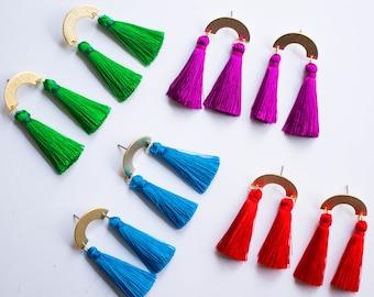 Rainbow -earrings (rainbow charm vibrant colour pop tassels)
