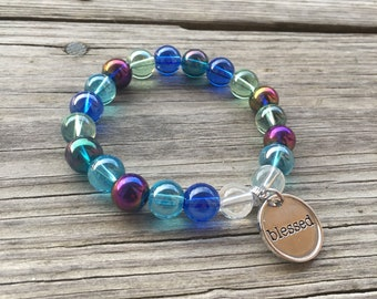 Colorful Chunky Beaded Bracelet & Charm - Your Choice