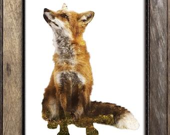 Fox Wall Art Print, Woodland Nursery Decor, Forest Animals, Double Exposure Nature Photography, Red Fox Kids Room Decor, Boho Fox Print
