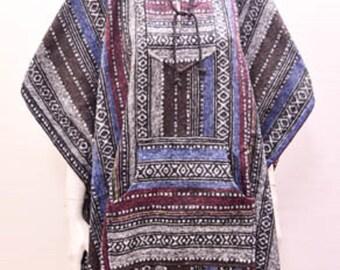 Boho Hippie Reversible Hooded Pocket Nomad Aztec Striped Poncho Freesize Brown