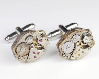 Steampunk Cufflinks Vintage Rustic Swiss Watch Movement Mens Gear Cuff Links by Steampunk Vintage Design