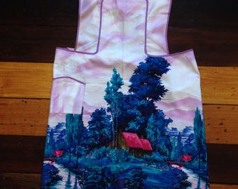 Vintage full apron / cotton sateen / mauve with print/ navy print/ Taniwha