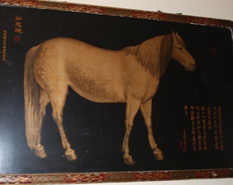 Vintage Horse Painting on Wood Chinese Art Cottage Chic***Store Pick Up Only***