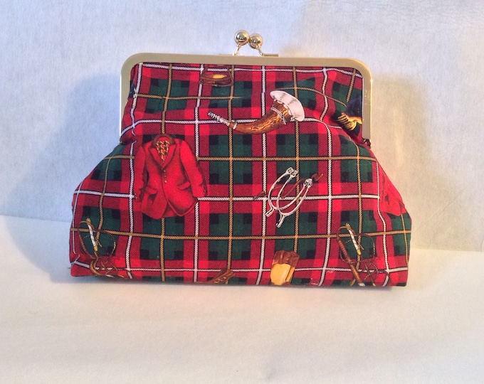Red Plaid Equestrian Horse Foxhunt Clutch Purse