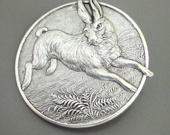Vintage Brooch - Rabbit jewelry - Silver Brooch - Bunny Brooch - Statement Jewelry - handmade jewelry