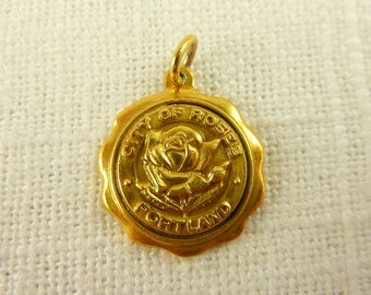 Vintage Gold Plated Sterling City of Roses Charm