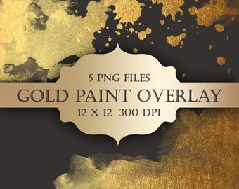 Gold Paint Digital Clip Art Overlay  - gold glitter watercolor metallic christmas transparent backgrounds scrapbooking invitations