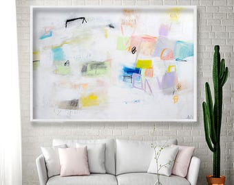 Large ABSTRACT ART Print White Wall art Geometric art Abstract painting beautiful giclee print with blue pink by Duealberi