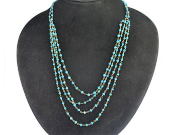 """925 Sterling silver Turquoise rondelle beads multi layer necklace 14.02 gm & 19.5"""""""
