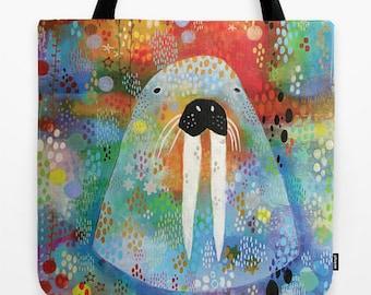 Walrus Tote Bag, Walrus Shoulder Tote, Shoulder Bag, Animal Grocery Tote, Creative Tote, Carryall Tote, Folk Art Bag, Outsider Art Bag