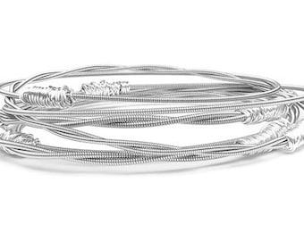 Bangle Bracelet Stack // Set of 6 Bracelets // Guitar String Bracelets // Eco-Friendly Personalized Jewelry // Gold Silver / Bridesmaid Gift