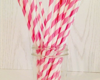 Light Pink Striped Paper Straws - Party Straws - Paper Straws - Pink Straws - Striped Straws