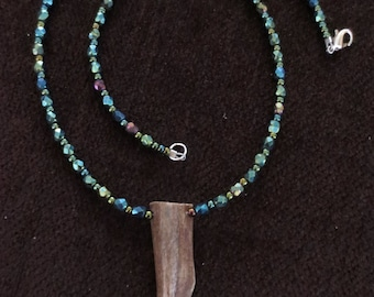 Antler Tine Necklace with Shimmering Green Beads