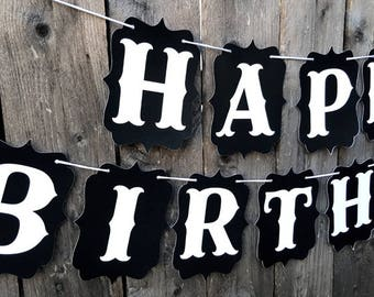 HAPPY BIRTHDAY BANNER, Black and White Banner, Retirement Banner, Birthday Banner, Personalized Banner