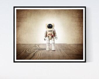 Vintage Astronaut figure One Photo Print, Boys Room decor, Vintage Space Art, Space Theme Prints,