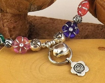 Flower Power Multicolor Kitty Cat Bling Beaded Collar complete with breakaway safety buckle bell and tag ring