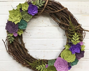 "16"" Felt Succulent Wreath"