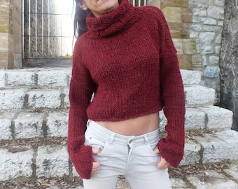 Burgundy sweater, long sleeve pullover, cropped sweater, knit cropped sweater, turtleneck,Mock Neck