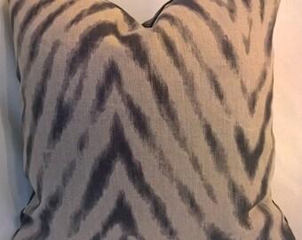 Super Ikat Zebra Natural Linen and Charcoal Grey Custom Pillows Charcoal Velvet Back