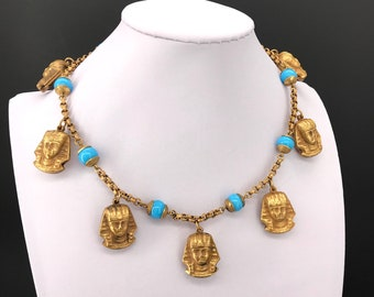 Pharaoh Brass & Turquoise Necklace