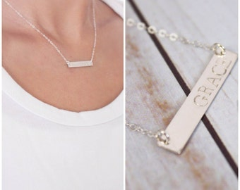 The Ikuko Necklace | Newsprint Bar Necklace | Tarnish Resistant | Hand Stamped Necklace