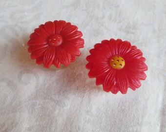1960s Red Flower Vintage Plastic Salt and Pepper Shakers