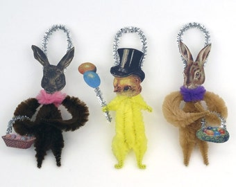 Chenille Easter Decorations - Easter Ornaments - Handmade Spring Ornaments