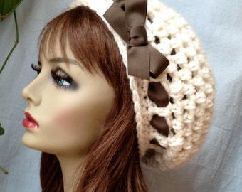 SALE Crochet Slouchy Beret, Womens Hat, Off White Cream, Pick Your Color, Chunky, Warm, Teens, Birthday Gifts for Her JE505BTR